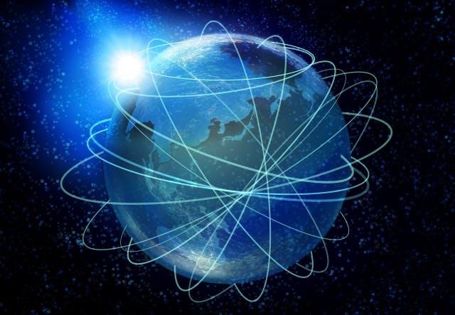 たくさんのラインが通っている地球